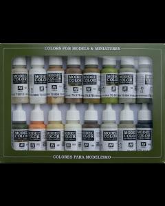 Earth Tones Model Color Paint Set, 16 kleuren Vallejo 70141