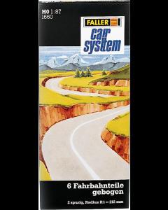 Car System: Wegdek, gebogen R1 212mm (4x90° en 2x45°) - 6 stuks Faller 161660