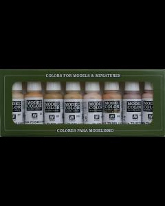 Face & Skintones Model Color Paint Set, 8 kleuren - Vallejo 70124 (VAL70124)