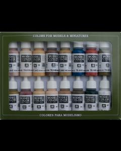 Face & Skintones Model Color Paint Set, 16 kleuren Vallejo 70125