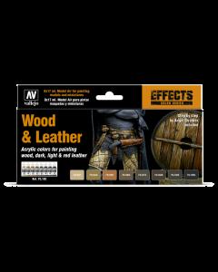 Wood & Leather Model Color Paint Set, 8 kleuren Vallejo 70182