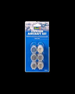 "Aqua Verfset ""Civiele Vliegtuigen"", 6 stuks - Nr. 4, 9, 90, 99, 350 en 371 Revell 39072"