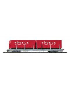 "H0m RhB R-w 8202 ACTS-Tragwagen ""Vögele Recycling"" - Bemo 2291 122 Bemo 2291122"