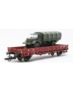 H0 DRG Platte wagen met militairvoertuig (FLE5222)