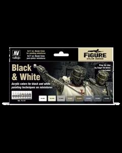 Black & White Model Color Paint Set, 8 kleuren - Vallejo 70151 (VAL70151)