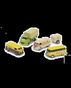 """H0 MHI Set VW T1 """"Sterke Merken"""" (Knorr, Maggi, Dr. Oetker, Kühne Senf), 5-delig (SCU26554)"""