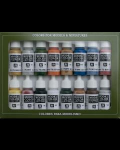 Folkstone Basics Model Color Paint Set, 16 kleuren Vallejo 70101