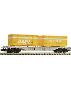 N SBB Dubbele Containerwagen, met postcontainers (FLE824403)