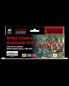 British Infantry Napoleonic Wars Model Color Paint Set, 8 kleuren Vallejo 70163