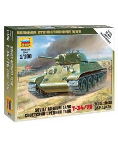 """1/100 Soviet T-34/76, Medium Tank (1940), snap fit """"Art of Tactic"""" (ZVE6101)"""