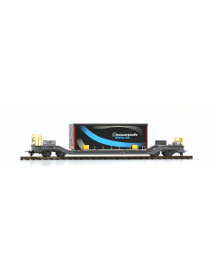 """H0m RhB Sbk-v 7708 Containerwagen mit Planenbehälter """"Gfeller"""" - Bemo 2289 168 (BEM2289168)"""
